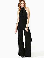 RICHCOCO Elegant Sleeveless Backless Round-Collor of Tall Waist Belt Chiffon Black Jumpsuits Top Quality