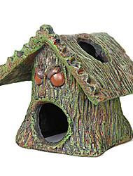 Lindo Madera Forma Casa resina de la decoración del ornamento de Acuario