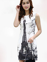 fa&y nouveau 2014 modèles coréens tour eiffel impression sans manche robe d'été en grand format