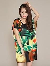 Ethnic Dress Ink Printing manicotto del blocco del vestito della nuova annata delle donne (Sartoria casuale)