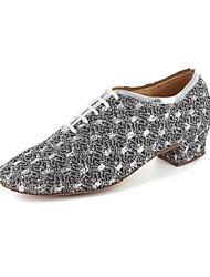 Zapatos de baile (Negro/Plata/Gris) - Moderno - No Personalizable - Tacón grueso