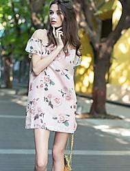 Women's Floral Pink Dress , Sexy Off Shoulder Short Sleeve Mesh