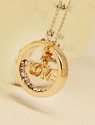 Fashion Jewelry  Short  Gold Plated  LOVE  Circle  Set  Auger Clavicle  Necklace for Women