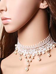 Hecho a mano princesa Collar de Perla Sweet Lolita collar con encaje blanco