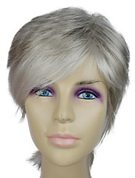 Capless Synthetic Short Grey Mixed Color Straight Personality Synthetic Wigs