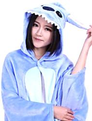 Animal extranjero con los oídos grandes franela azul Unisex Kigurumi Cabo / Cloak