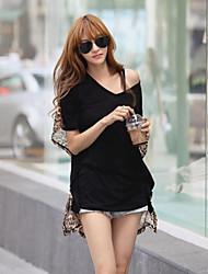 Damen Solide Sexy Lässig/Alltäglich T-shirt,Asymmetrisch Sommer Kurzarm Schwarz Baumwolle Undurchsichtig