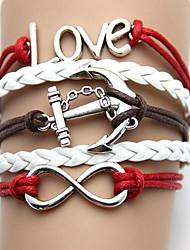 Occident Moda y artesanal de época anclas con la letra de amor de la PU de la pulsera tejida hecha a mano