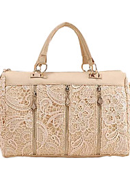 Lady Korean Lace PU Leather Sholder Bag(Almond)