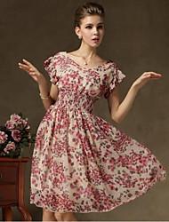 Женская мода печати V шеи шифоновое платье