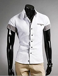 U & F Herren Hemd Kragen Baumwolle prüfen Solid Color Casual T-Shirt