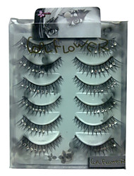 6 pairscoolflower false eyelashes with diamond 024#