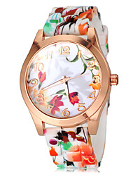 Women's Colorful Flower Pattern Silicone Band Quartz Wrist Watch Cool Watches Unique Watches Fashion Watch