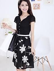 vestido de gasa patrón de flores de manga corta de la moda de las mujeres SexyLADY
