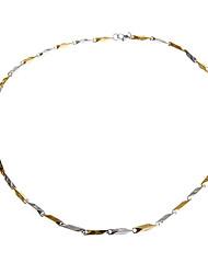 Collar de cadena de aleación de moda de los hombres de plata de oro de dos tonos de