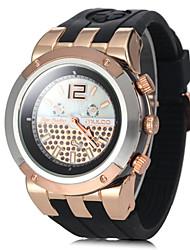 Unisex oro rosa Dial redondo grande banda de silicona de cuarzo reloj de pulsera analógico (colores surtidos)
