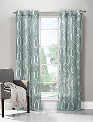 Modern One Panel Geometric Aqua Living Room Polyester Panel Curtains Drapes