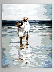 Hand Painted Oil Painting People Two Children on The Beach with Stretched Frame