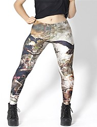 Das PinkQueen ® Mulheres Spandex escuro Tercel Guerra Leggings
