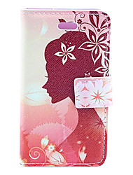 Girl's Perfect Profile Face Pattern PU Leather Full Body Case with Card Slot and Magnetic Snap for iPhone 4/4S