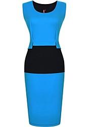 Mulheres Rodada Patchwork Collar Contraste Cor Vestido