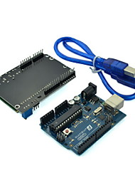 (For Arduino) UNO Microcontroller Development Board with LCD Keypad Shield Expansion Board and USB Cable