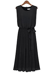 Women's Wear Sleeveless Chiffon Pleat Pose Dress