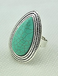 Vintage Female Turquoise Adjustable Ring (Green)(1pcs)