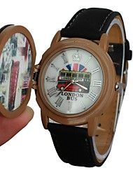Unisex Bus Pattern Stamp Style Cover Leather Band Quartz Wrist Watch (Assorted Colors) Cool Watches Unique Watches