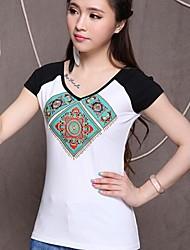 Women's T-Shirts , Cotton Vintage Fangyage