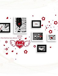 Black White Mixed Color Photo Frame Collection Set of 6  with Red  Love Wall Sticker