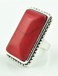 Vintage Female Tibet Alloy Turquoise Adjustable Ring (Red)(1pcs)
