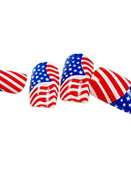 24PCS American Flag Design Nail Art Tips With Glue