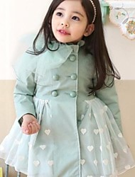 Girl's Fashion Casual Yarn strik Hart Gedrukt Coat