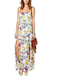 Encantador pequeño patrón de flores Roto de la Mujer y el vestido del tubo largo