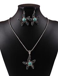 diamate classique en forme d'étoile percée colliers Rammel vert en alliage d'argent-oreilles ensembles de bijoux vintage