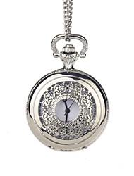 Novio de plata grabado hueco reloj de bolsillo con la caja de regalo