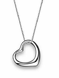 's parijs vrouwen elegante hartvorm hanger zilveren ketting