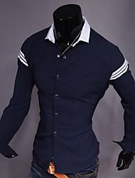 Men's Long Sleeve Shirt , Cotton Blend Casual/Work/Formal