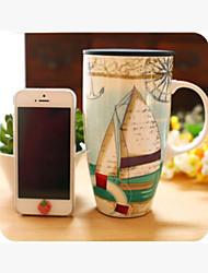 "6""Artistic Sailing Boat Pattern Blue Mug"