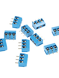PCB 3pin Plastic + Stainless Steel + Brass Screw Terminals - Deep Blue (10 PCS)