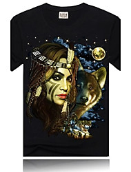 Men's Round Neck Short Sleeves  Black Digital Printing Luminous T Shirt(Pictures for The Luminous Effect)