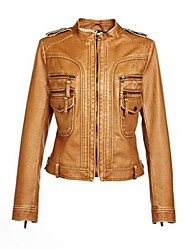 Women's Fashion Slim PU Leather Motorcycle Jacket