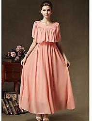 TS Round Neck Dress , Chiffon Midi Sleeveless