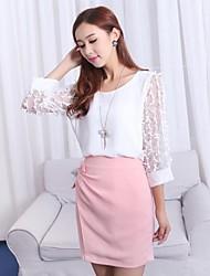 Women's Dress Above Knee ¾ Sleeve Pink / White Spring / Summer / Fall