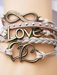 bracelet en cuir amour en alliage multicouche et le cœur infinie bracelet en main