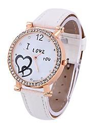 Rotonda d'oro di Coway doppi Hearts Donne Quadrante bianco cinturino in pelle di quarzo analogico da polso impermeabile Watch