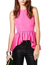 Women's Solid Pink Vest , Strap Sleeveless Ruffle