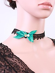 INONE Frauen Vintage Blue Black Lace Bow Dita August Halskette