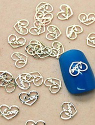 200PCS Love Heart Design Slice Metal Nail Art Decoration